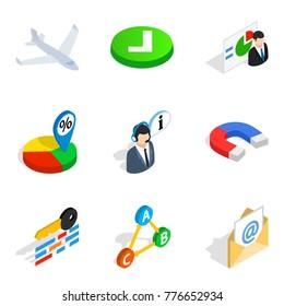 Legitimate business icons set. Isometric set of 9 legitimate business vector icons for web isolated on white background