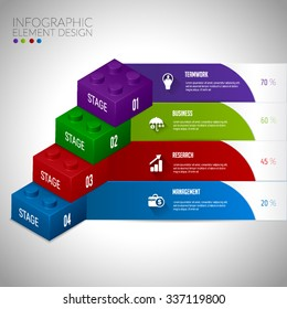 Lego block infographic concept teamwwork.