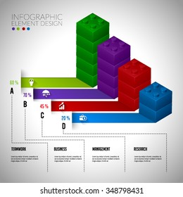 Lego block vector infographic concept teamwork. Layout design elelment can used for banner chart diagram workflow timeline and web design,presentation templates background.