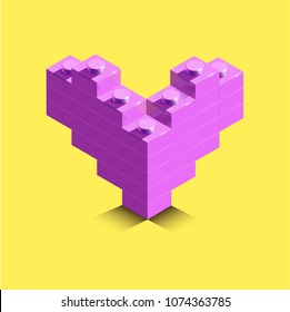 Lego heart. Realistic 3d pink heart from building bricks on yellow background. 3d heart