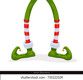 Legs Christmas Elf in green shoes with bells, in striped stockings and in short red breeches. Isolated on white. Humorous xmas collection. Creative festive background. Vector illustration