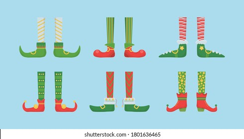 Legs Christmas elf in shoes with bells. Santa helpers shoes and pants. Collection of cute elves legs, boots, socks. Creative Christmas composition. Funny assistant to Santa Claus. Vector illustration.