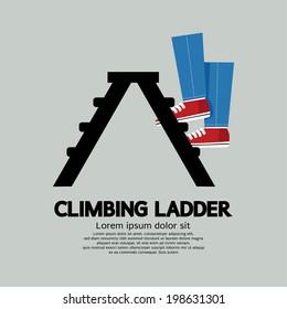 Legs Climbing Ladder Vector Illustration