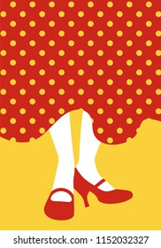 Legs of flamenco dancer and typical Spanish polka dot dress. Spanish-style shoes tapping