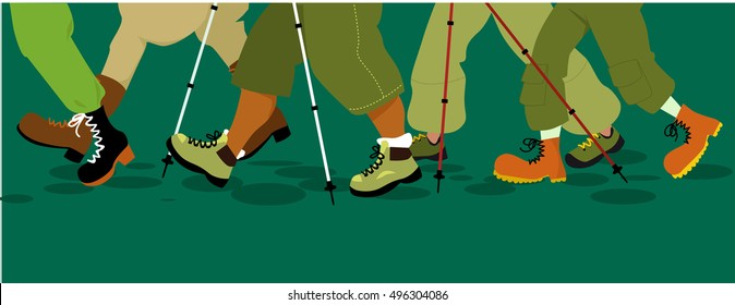 Legs of group of people walking in hiking boots with hiking poles, EPS 8 vector illustration, no transparencies, copy space at the bottom