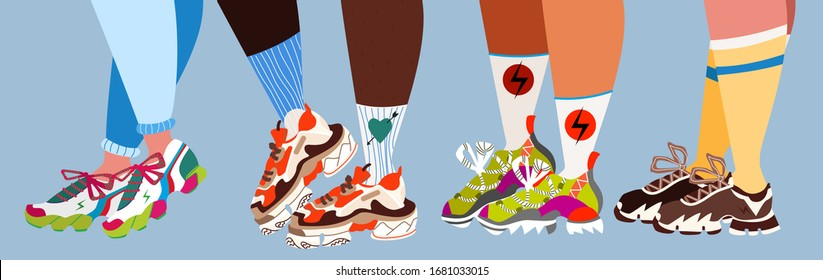 Legs and sneakers. Trendy massive trainers and colorful socks. Modern vector illustration for web, banner design and print. Teenage dream concept. People wearing different sport shoes.