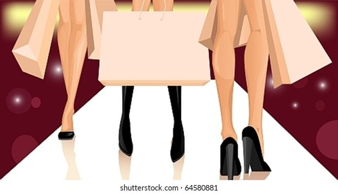 legs of three women with shopping bags