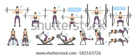 legs workout women machines all kinds stock vector