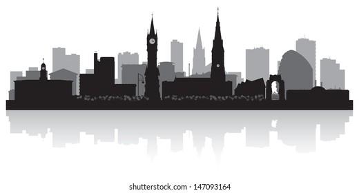 Leicester city skyline silhouette vector illustration
