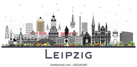 Leipzig Germany City Skyline with Gray Buildings Isolated on White. Vector Illustration. Business Travel and Tourism Concept with Historic Architecture. Leipzig Cityscape with Landmarks.