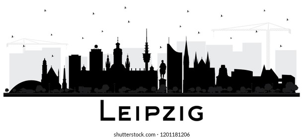 Leipzig Germany City Skyline Silhouette with Black Buildings Isolated on White. Vector Illustration. Business Travel and Tourism Concept with Historic Architecture. Leipzig Cityscape with Landmarks.