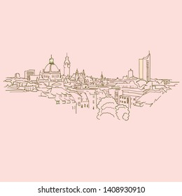 Leipzig, Germany, drawing, brown colored version for Apps, Print or web backgrounds