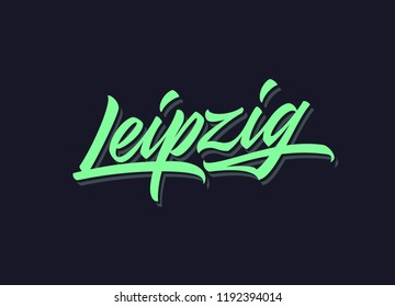 Leipzig hand made calligraphic lettering in original style. European city typographic script font for prints, advertising, identity. Hand drawn touristic art in high quality. Travel and adventure