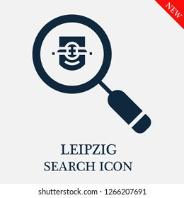 Leipzig search icon. Leipzig icon in magnifier icon. Editable Leipzig search icon for web or mobile.
