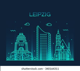 Leipzig skyline, detailed silhouette. Trendy vector illustration, linear style