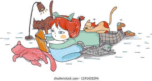 A leisure afternoon - a girl who effortlessly reads fairy tales to three cats in the afternoon. Vector illustration