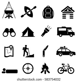 Leisure, camping and recreational activities icon set
