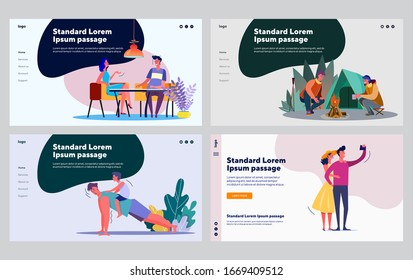 Leisure and communication set. Men dating, camping, spending time with child. Flat vector illustrations. Activity, lifestyle, relationship concept for banner, website design or landing web page