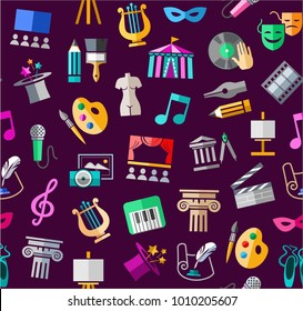 Leisure and cultural centres. Cultural events and the attributes of art. Colored icons on a purple field. Vector picture.