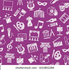 Leisure and cultural centres. Cultural events and the attributes of art. White icons on a purple field. Hatching a white pencil. Simulated texture. Vector picture.