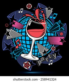 Leisure fantasy backdrop with musical notes and salute - lounge theme poster. Glass goblet with wine placed over earth symbol.