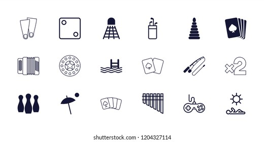 Leisure icon. collection of 18 leisure filled and outline icons such as playing card, pool, joystick, dice, golf putter, harmonica. editable leisure icons for web and mobile.