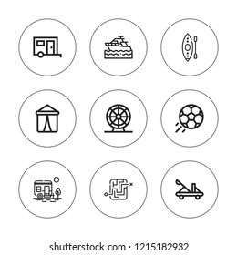 Leisure icon set. collection of 9 outline leisure icons with catapult, caravan, ferris wheel, football, kayak, labyrinth, yatch icons. editable icons.