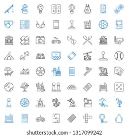 leisure icons set. Collection of leisure with apron, hot air balloon, hopscotch, beach towel, air hockey, gamepad, volley, dart board, sunbed. Editable and scalable leisure icons.