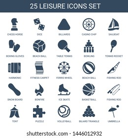 leisure icons. Trendy 25 leisure icons. Contain icons such as chess horse, dice, billiards, Casino chip, sailboat, boxing gloves, beach ball. leisure icon for web and mobile.