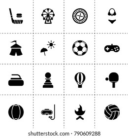 Leisure icons. vector collection filled leisure icons. includes symbols such as circus, roulette, joystick, hot air balloon, ferris wheel. use for web, mobile and ui design.