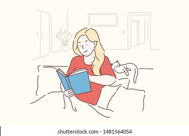 Leisure, lifestyle, nostalgically, learning concept. Young, beautiful woman sits in a cozy pose and reads her favorite literature, studies science. Simple flat vector.