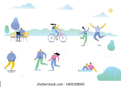 Leisure outdoor activities - riding bicycle, sitting on bench with laptop. Nature background with different people walking and have a rest outdoor in forest and park. Cartoon flat vector.