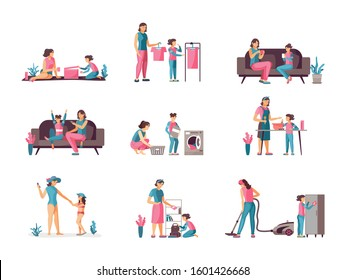 Leisure together mother daughter. Mother, children spending time together. Friendly family parenting, helping parents, relaxing, cleaning, cooking in kitchen, doing housework, shopping cartoon vector