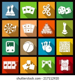 Leisure video sport and gambling casino games icons set flat isolated vector illustration