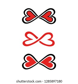 Lemniscate infinity with hearts, symbol FOREVER LOVE for couples, best friends, Valentine, wedding and engagement