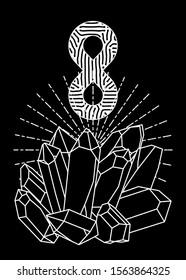Lemniscate symbol above magic crystals. Vector linear illustration.