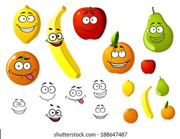 Lemon, apple, orange, banana, pear and peach fruits in cartoon style