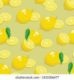 Lemon background. Fresh lemons. Seamless bright light pattern for fabric, fruit background.