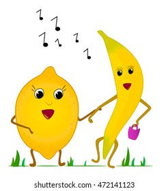 Lemon and banana sing a song. Vector Illustration.