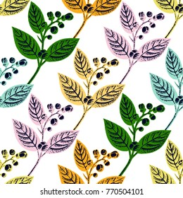 Lemon branches with leaves and buds seamless pattern. Vector illustration. All over print.