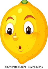 Lemon cartoon character with confused face expression on white background illustration