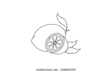 Lemon coloring book fruit to educate kids. Learn colors pages