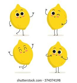 Lemon. Cute fruit vector character set isolated on white
