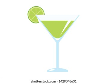 Lemon Daiquiri drink with lemon vector. Daiquiri glass with lemon icon. Glass of Daiquiri isolated on a white background. Lemon Daiquiri cartoon