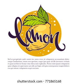 Lemon drinks vector illustration for your label, emblem, sticker, logo