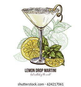 Lemon Drop Martini with mint leaves, vector illustration, hand drawn colored sketch