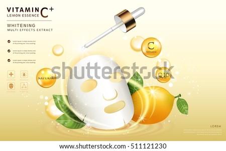 Mask Template | Lemon Essence Ads Facial Mask Template Stock Vektorgrafik