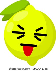 Lemon with a face. Eyes, mouth, and tongue on sour fruit. Mascot and emotions.