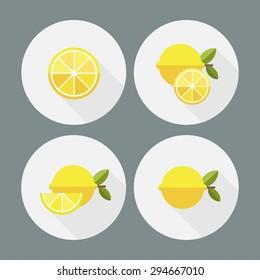 Lemon. Flat icons. Vector.