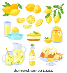 Lemon food vector , yellow citrus fruit and fresh lemonade or natural juice illustration set of lemon cake with jam and citric syrup isolated on white background
